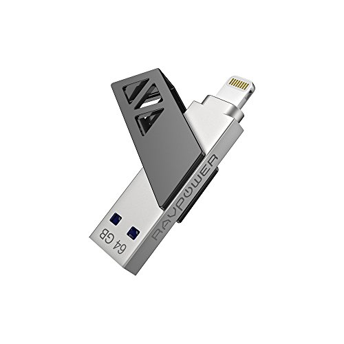 Digital Backup Storage - iPhone Flash Drive USB 3.0 64GB,RAVPower iPad External Memory Stick Expansion with MFi Extended Lightning Connector, Rotatable Cover, Instant Backup, and Direct File Saving for iOS Windows Mac
