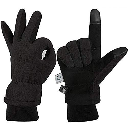 CCBETTER Winter Gloves with Windproof Deerskin Suede Leather, Cold-proof Gloves -Insulated Polar Fleece Heatlok Cotton Layer-Black/Gray/Yellow (Black, M)