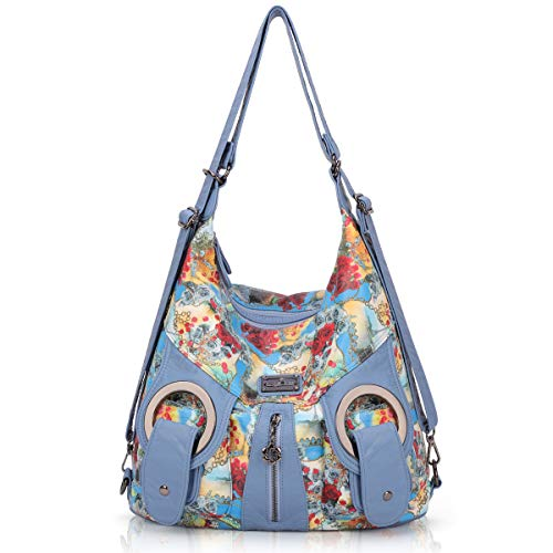 (Angle Kiss Women Handbags Pu Leather Over Shoulder Bag for Ladies Satchel Tote Bags Lady Mutipocket Purse, Blue)