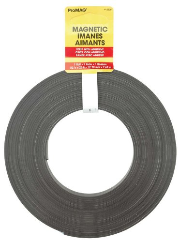 Magnum Magnetics Corp Adhesive Magnetic Strip, 1/2-Inch x 25-Feet