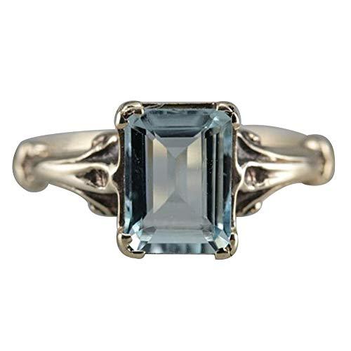 bromrefulgenc Elegant Pretty Ring,Elegant Women Faux Square Topaz Ring Bride Wedding Engagement Party Jewelry Gift - Light Blue US 6