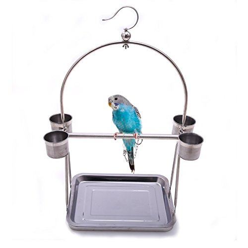 "- QBLEEV Stainless Steel Parrot Bird Perch Stand with Hook and Food Bowls, Tabletop Playground or Hanging Play Gym Playstand for Macaw African Grey Budgies Parakeet Conure 22.83"" H 12.4"" L 9.65""W"