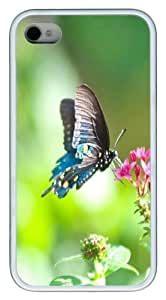 Butterfly close up01 Custom iPhone 4s/4 Case Cover TPU White Christmas gift