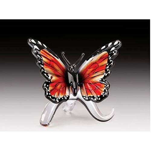 Everspring Import Company Glass Amber Monarch Butterfly Figurine