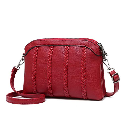 Crossbody Bag for Women Small Leather Phone Purse Wallet Shoulder Bag Trendy Ladies Wristlet Clutch(Red)