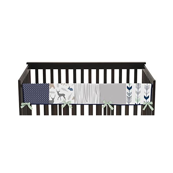 Sweet Jojo Designs Baby Crib Long Rail Guard Wrap Cover Teething Protector for Navy Blue, Mint and Grey Woodsy Boy Bedding Collection