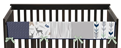 (Sweet Jojo Designs Baby Crib Long Rail Guard Wrap Cover Teething Protector for Navy Blue, Mint and Grey Woodsy Boy Bedding)