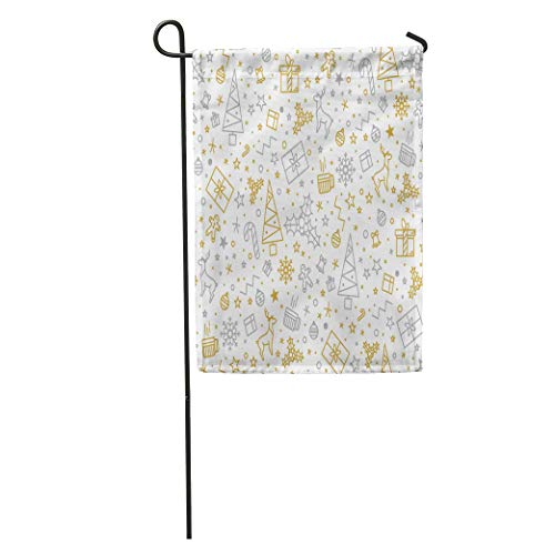 Semtomn Garden Flag Yellow Tree for Christmas on Gold Beautiful Pattern Luxurious Line Home Yard House Decor Barnner Outdoor Stand 28x40 Inches Flag ()