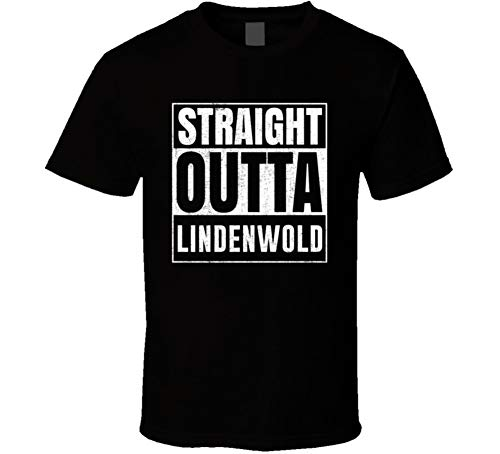 (Straight Outta Lindenwold New Jersey City Grunge Parody Cool T Shirt L Black)