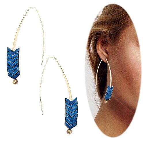 Threader Drop Earring Arrow Dangle Hoops Retro Unique Ear Crawler Earrings Climber Long Ear Line Jewelry Blue Tone