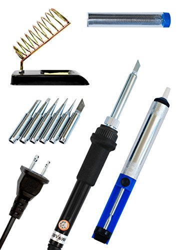 60W 110V Soldering Iron Kit with Temperature Control Best Set for All Your Needs - Includes 6 Interchangeable Tips