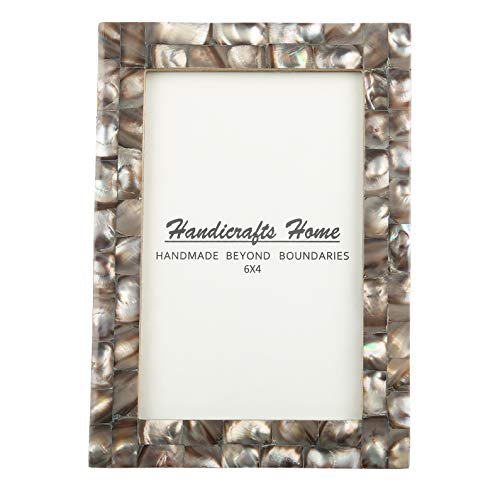 (4x6 Picture Frames Chic Photo Frame Mother of Pearl Handmade Vintage from Handicrafts Home (4x6, Grey))