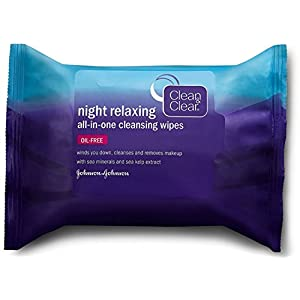 Clean & Clear Night Relaxing All-In-One Facial Cleansing Wipes, 25 Count, Pack of 6