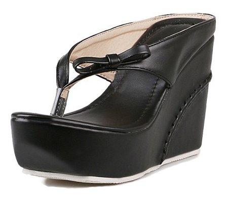 Aisun Women's Comfy Thick Sole Beach Split Toe Platform Flip Flops High Heel Wedge Slide Sandals Thong Shoes with Bows (Black, 6 B(M) US)