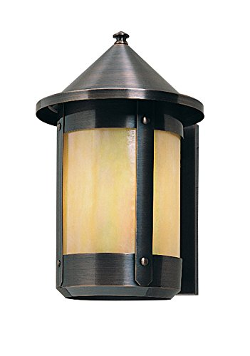 Arroyo Craftsman BS-7RWO-BZ Berkeley Wall Sconce with Roof, 7