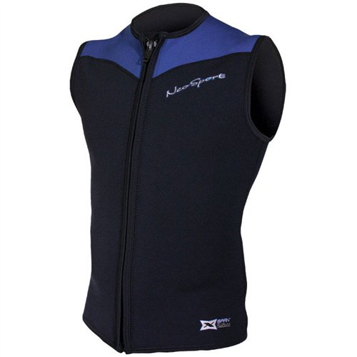 - NeoSport Men's 2.5-mm XSPAN Vest (Black with Blue Trim, Large) - Water Sports, Diving & Snorkeling