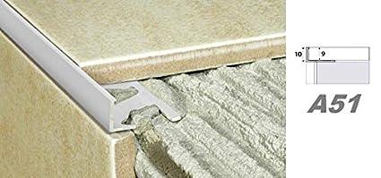 2 Meter Alu eloxiert Fliesen Randleiste Aluprofil Fliesenleiste Schiene 10mm A51 Farbe:Silber