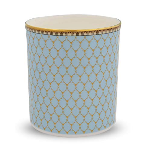 Halcyon Days, Antler Trellis Blue Fine English Bone China Candle Holder/Container, 24K Gold Trim
