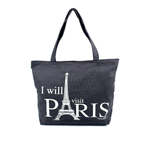[Laimeng,Women Canvas Handbag Shopping Shoulder Bag Paris Eiffel Tower Bookbag Tote (B)] (Recycled Material Costume)