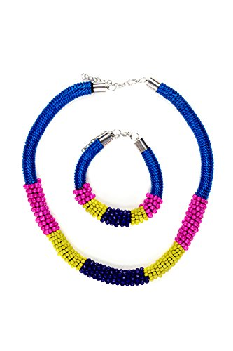 [Beaded Rope Necklace And Bracelet Set Chain Extender Statement Jewelry For Women (blue, pink,] (Tangled Costume Ideas)