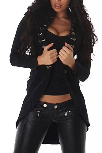 Chaqueta de mujer estilo militar, blazer de sudadera, olivo, con botones negro