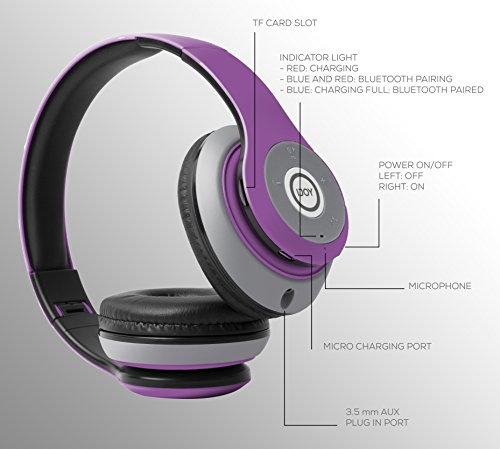 iJoy Matte Rechargeable Wireless Bluetooth Foldable Over Ear Headphones with Mic, EDM by iJoy (Image #3)
