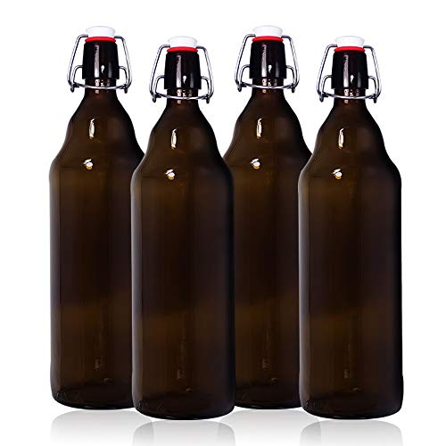YEBODA 32 oz Amber Glass Beer Bottles for Home Brewing with Flip Caps, Case of 4 ()