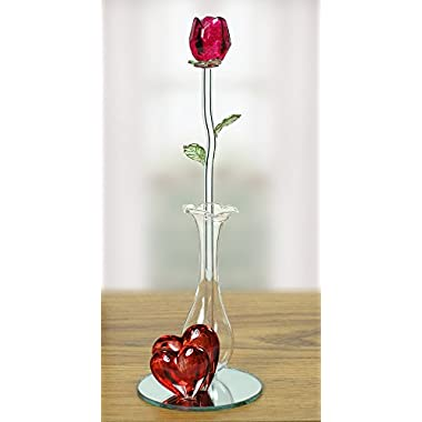 Roses - Crystal Red Rose in Glass Vase - Red Decorative Hearts on a Mirrored Base - Forever Rose - Gifts for Her - I Love You Gift