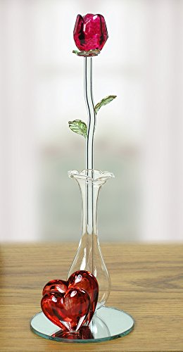 Crystal Red Rose in Glass Vase - I Love You Gift