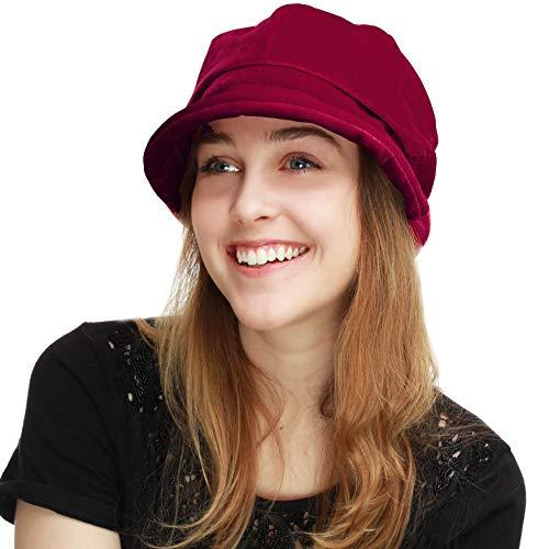 (BLACK HORN Womens Newsboy Cabbie Beret Cap Cloche Visor Hats (Velvet-Burgundy))