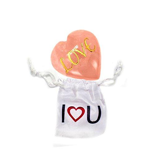Sweetheart Gemstone Pendant (Rose Quartz Gem Stone Heart- Love Engraved Heart Shaped Rose Quartz In Bag- Rock Paradise Exclusive COA)