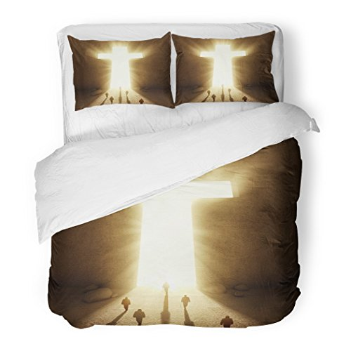 SanChic Duvet Cover Set Christian People Walking Towards Huge Cross Passage Church God Faith Decorative Bedding Set Pillow Sham Twin Size by SanChic