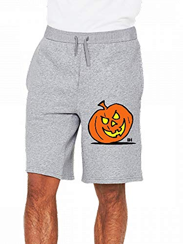 Jack O Lantern Halloween Citrouille Mens Casual Shorts Pants Gray -