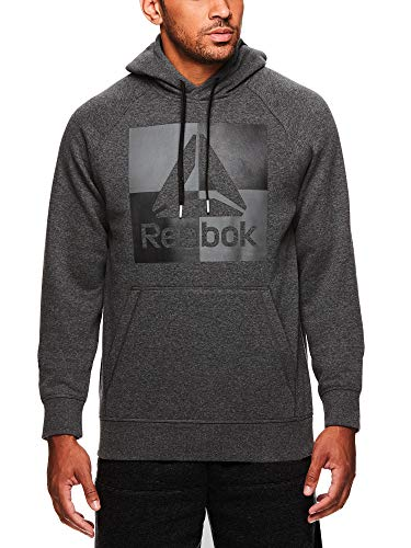 Reebok Men's Performance Pullover Hoodie - Graphic Hooded Activewear Sweatshirt - Charcoal Air Squat, Small ()