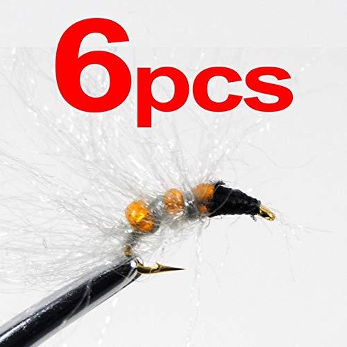 Caddis Pupa Bead (Glass Bead Caddis Larva Pupa Nymph Flies Trout Fishing Lures Size 14 Green & Orange Color : 6pcs Orange)
