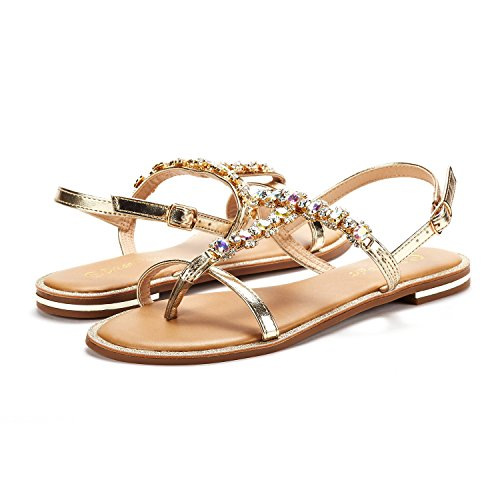 Gladiator String Thong Women's Strap 5 DREAM Strappy Summer Ankle Elastic gold PAIRS Sandals SPPARKLY avBnwqTf