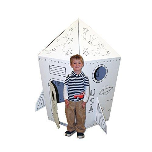Cardboard Coloring Rocket Playhouse