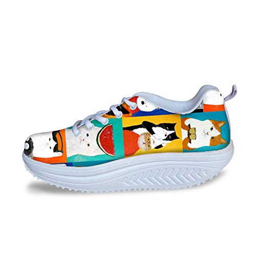 FOR U DESIGNS Women Platform Wedge Shoes Cartoon Cat Painting Breathable Loafers Walking Sneakers US 11