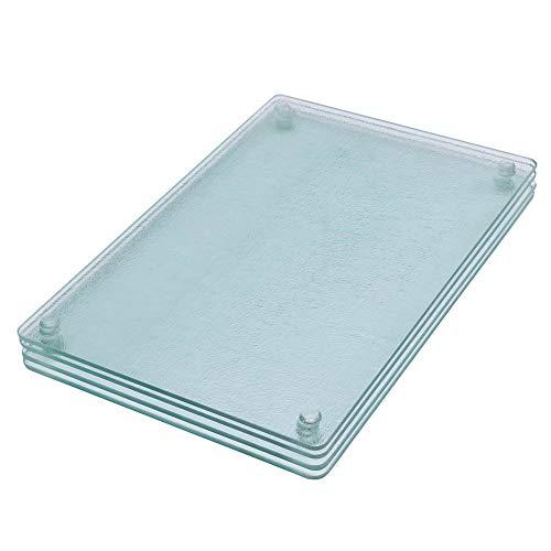 "Square Clear Tempered Glass Cutting Board Set, 4 Pcs, 7.75""x11.75"