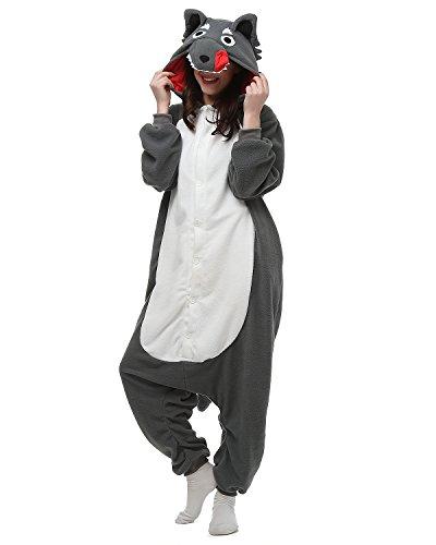 Oneises Women Men's Animal Grey Wolf Onesie Halloween Costume Pajamas Partywear X-Large (Onesie Halloween Costume)