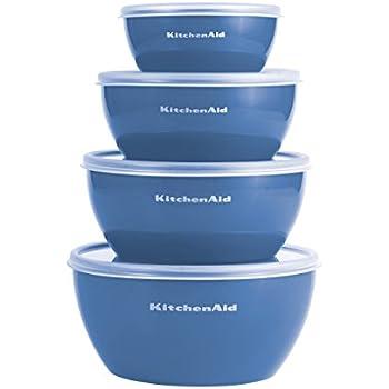 Kitchenaid Prep Bowls with Lids, Set of 4, Ocean Blue