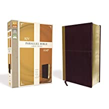 KJV, Amplified, Parallel Bible, Large Print, Leathersoft, Tan/Burgundy, Red Letter Edition: Two Bible Versions Together for Study and Comparison