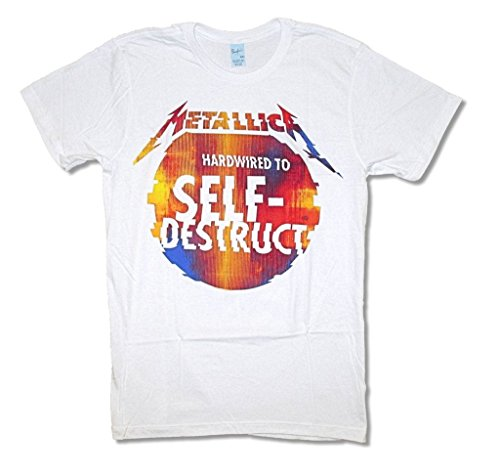 - Metallica Glitch Ball Hardwired to Self Destruct White T Shirt Adult (L)