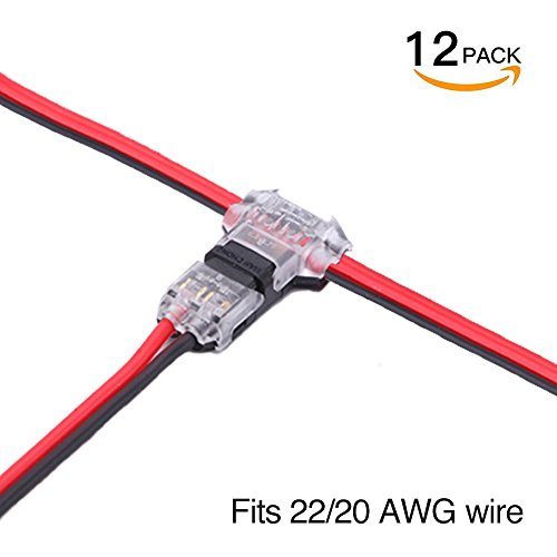 Wire Connectors - Pack of 12 low voltage wire T tap connectors T type 2 Pin solderless with no wire-stripping required for Mid-span Branching in Wires Connection 20/22 AWG Cable By brightfour (Voltage Wire)