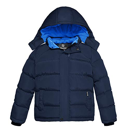Wantdo Boy's Cotton Padded Winter Coat Thicken Puffer Jacket with Hood Navy 6/7