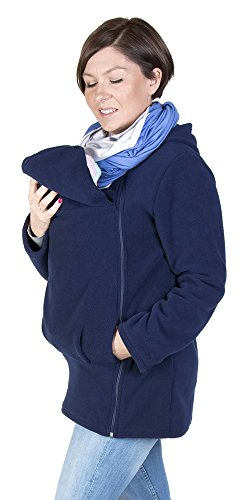 - FUN2BEMUM Maternity Warm Polar Fleece, Hoodie/Pullover for Two/for Baby Carriers Navy (L - US10)