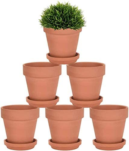 Riseuvo 5 Inch Terra Cotta Pots with Saucer