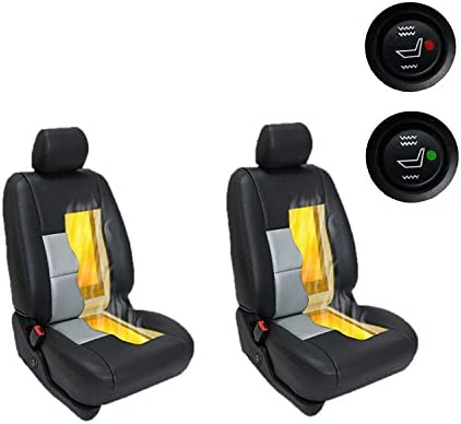 Heated seatsCarbon Universal Carbon Fiber 12V Car Seat Heater Round Switch Heating Pad Cover Kit x8 WATERCARBON WATERCARBON 10-118