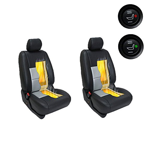 WATERCARBON Universal Car Seat Heater Kits 12v Carbon Fiber Heat Pads with Hi/Lo Temperature Switch Car Heated seat Heating pad auto 131~158 ℉ 2 SEAT ()