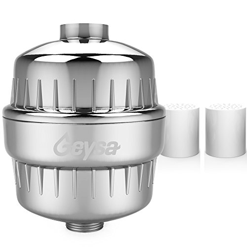 Geysa High Output Universal Shower Filter with 2 Replaceable Multi-Stage Filter Cartridges, Removes Chlorine & Purifies your Water- Chrome